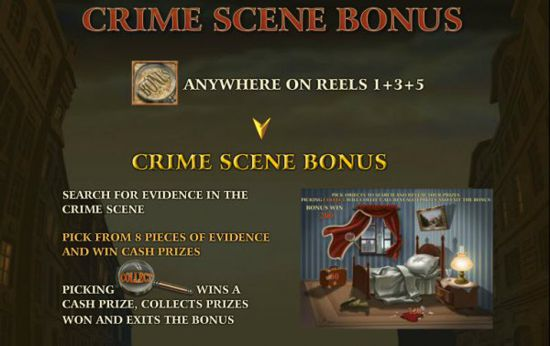 Playtech Sherlock Mystery features a Crime Scene Bonus Round