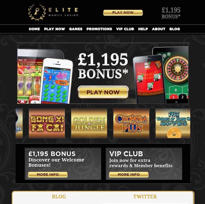Screenshot Elitemobilecasino.co.uk UK Player Review