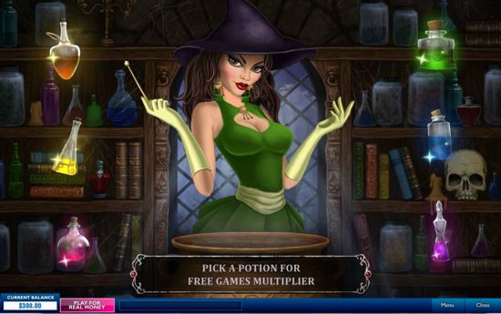Halloween Fortune features the Pick a Witch and Potion Game