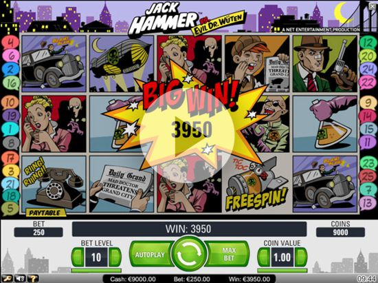 Jack Hammer is a Net Ent Slot that uses 10 betting levels