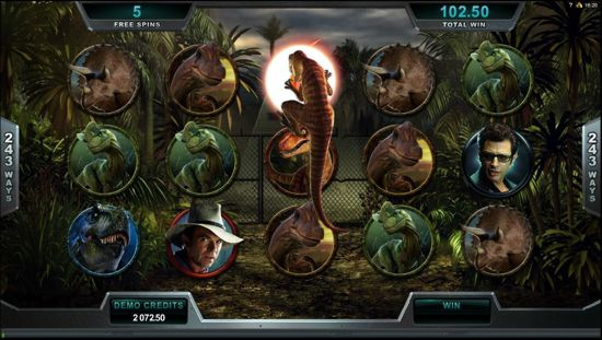Jurrasic Park from Microgaming uses powerful graphics for dinosaur animation sequences