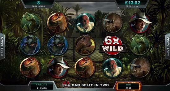 The Jurrasic Park Online Slot features Wilds and Multipliers