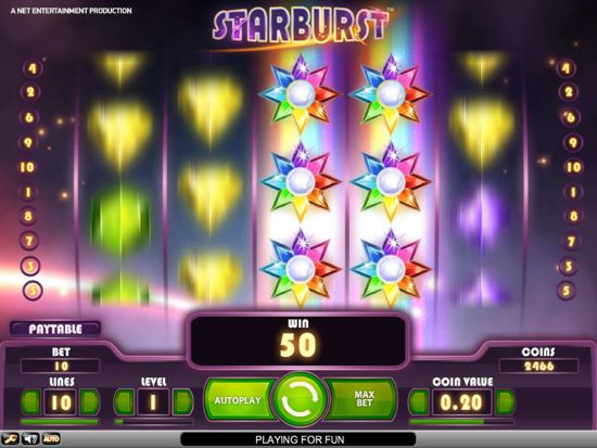 Screen shot of Starburst Slot graphics during gameplay