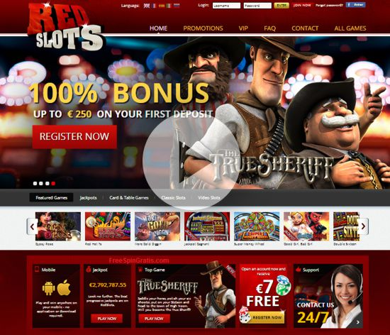 Redslots offers £7 free for no deposit for opening casino account
