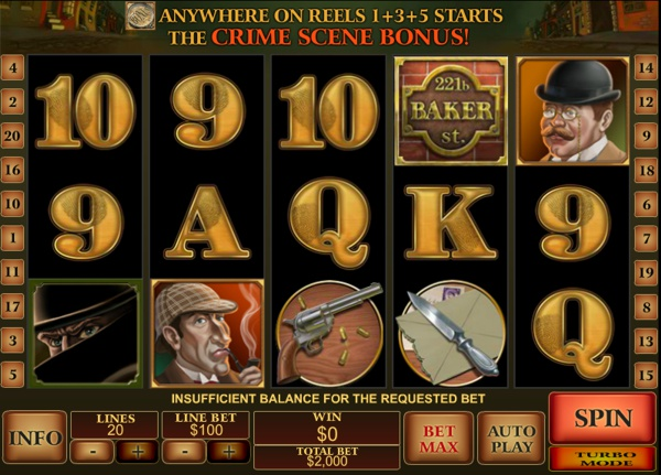 Screenshot of Sherlock Mystery Online Slot