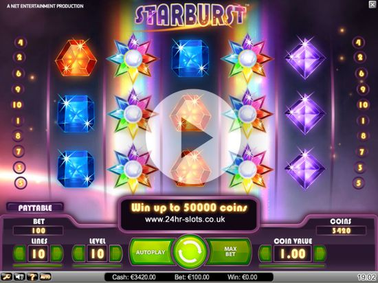 Coin value and betting limits of Net Ent Starburst slot