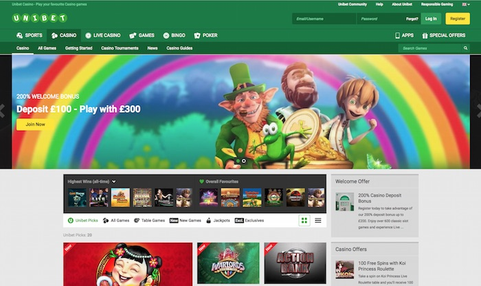 Home Screenshot Unibet Casino UK Review Player View