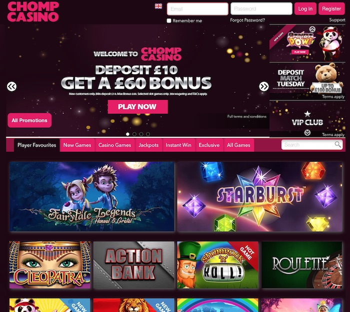 Chomp Mobile Casino Home Page