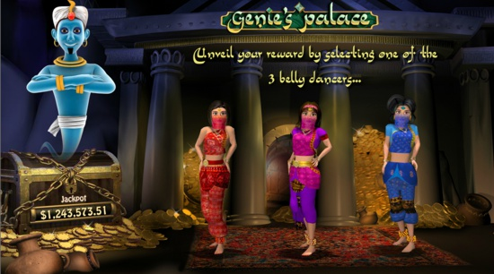 Real money players choose their fate in the Millionaire Genie bonus game