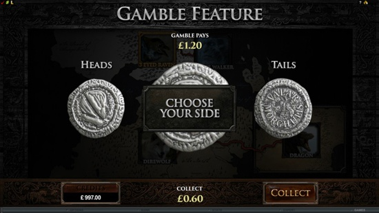 The Game of Thrones slot has a gamble trail feature where cash players can double their money