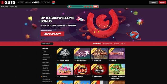 Guts Casino Review Screenshot