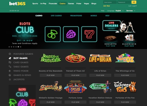 Bet365 Casino Home Page Screenshot