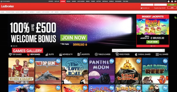 Ladbrokes UK Casino Review Screenshot Home