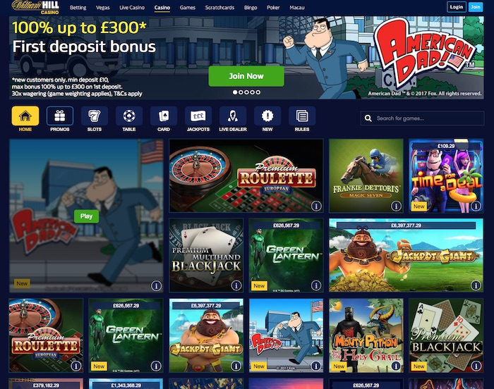 Screenshot UK Home William Hill Casino