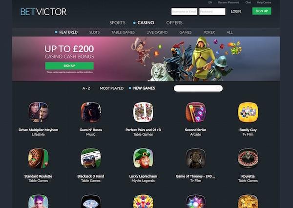 Betvictor Casino UK New Home Screenshot 2016