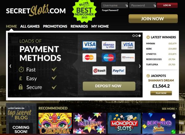 Screenshot of Secretslots.com casino
