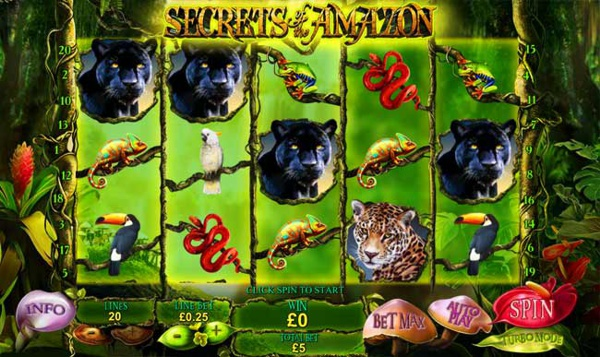Screenshot of Secrets of the Amazon Online Slot