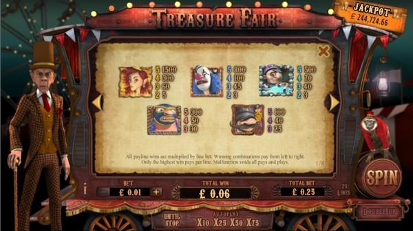 Treasure Fair Slot Pay Table
