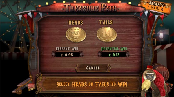 Double your money in the Treasure Fair Gamble Feature