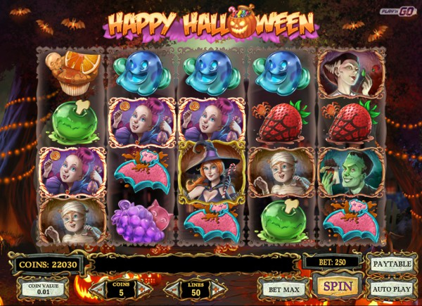 Screenshot of Happy Halloween Slot real money game play