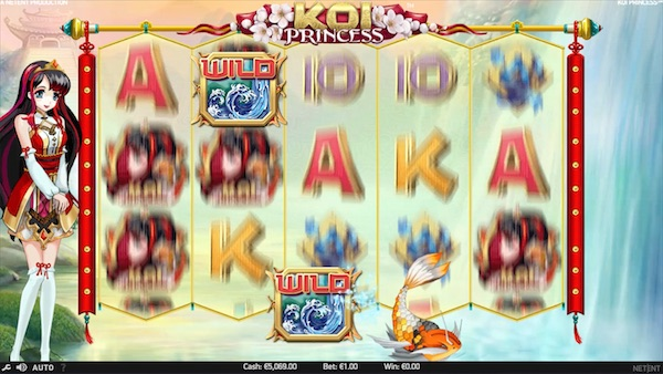 Random Wilds during Koi Princess Slot real money base game