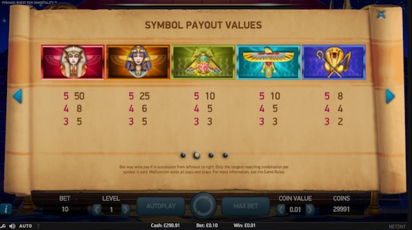 payout table quest for immortality slot