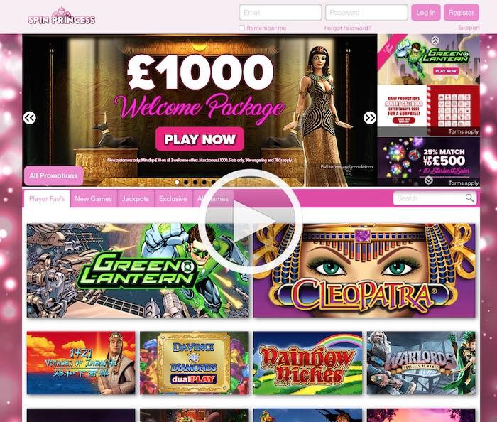 Spinprincess.com UK Mobile Casino Home Screenshot