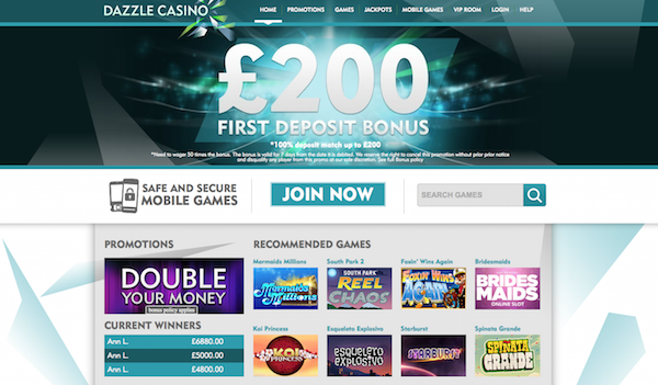 Dazzle Casino Review Screenshot