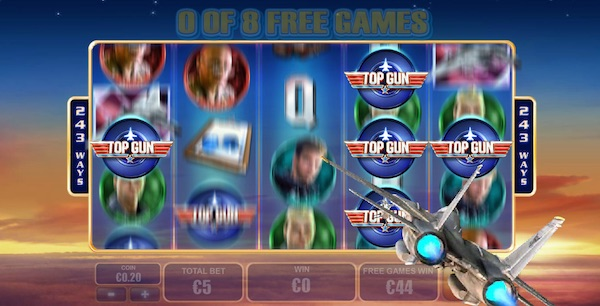 Top Gun Mobile Slot Free Spins Game Screenshot