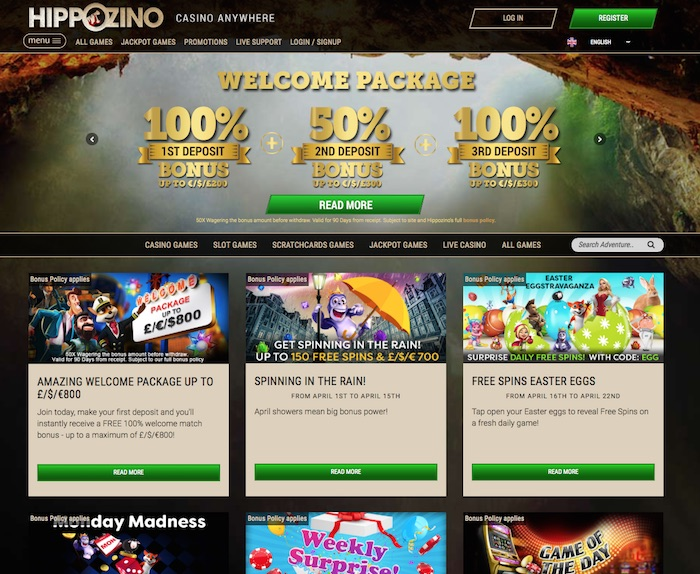 Hippozino Casino UK Review Screenshot
