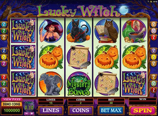 Hippozino features popular online slots such the Lucky Witch Game
