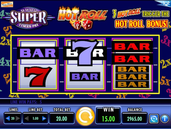 UK Review Screenshot of IGT Hot Roll Super Times Pay Slot