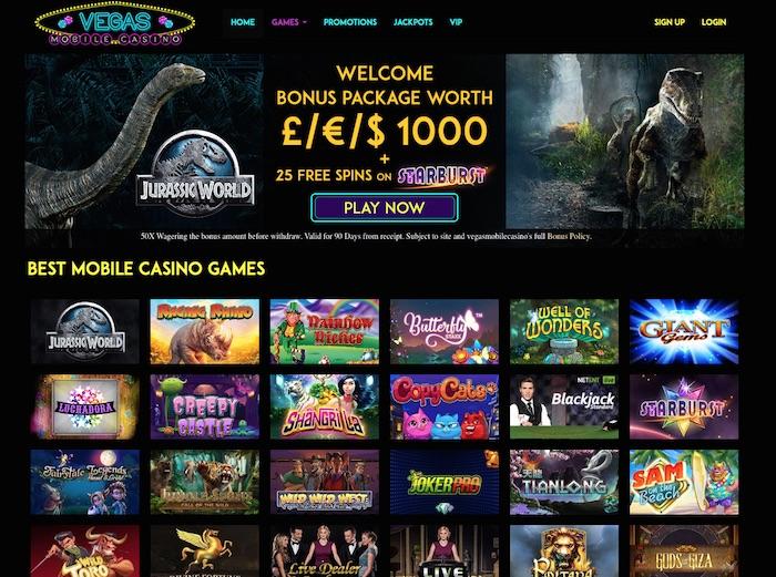 UK Review Screenshot of Vegasmobilecasino.co.uk