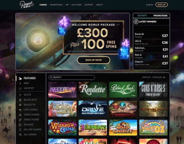 Home Page Screenshot Prospecthallcasino.com UK Review