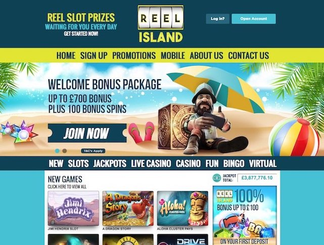 Home Screenshot of Reelisland.com Casino and Slots