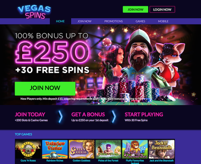 Vegasspins.com UK Review Home Screenshot