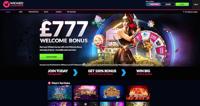 Wickedjackpots.com home casino page