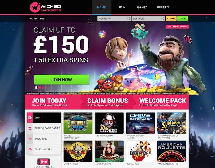 Screenshot showing Wickedjackpots.com home casino page