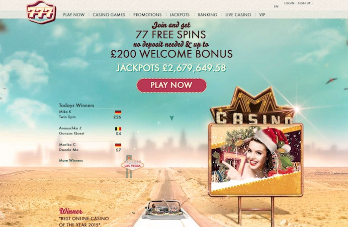 777 Casino Screenshot Home