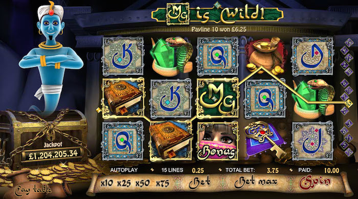 Play Progressive Slot Millionaire Genie at 777 Casino