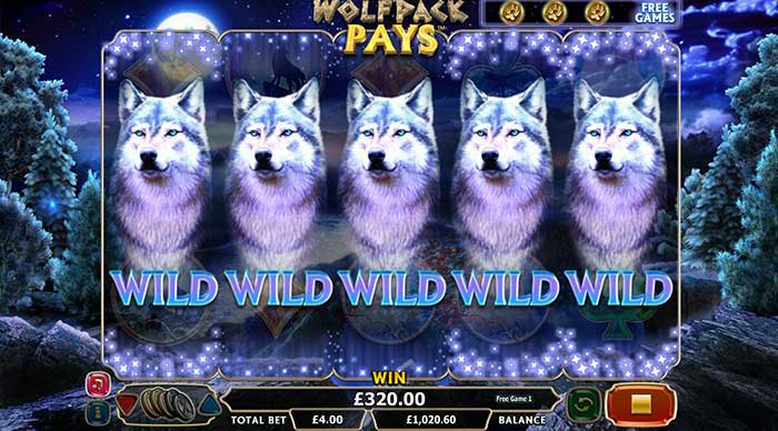Free Games Bonus as featured in Wolfpack Pays Slot