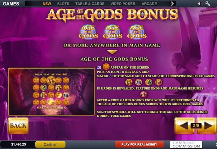 Age of the Gods Slot Main Bonus Feature