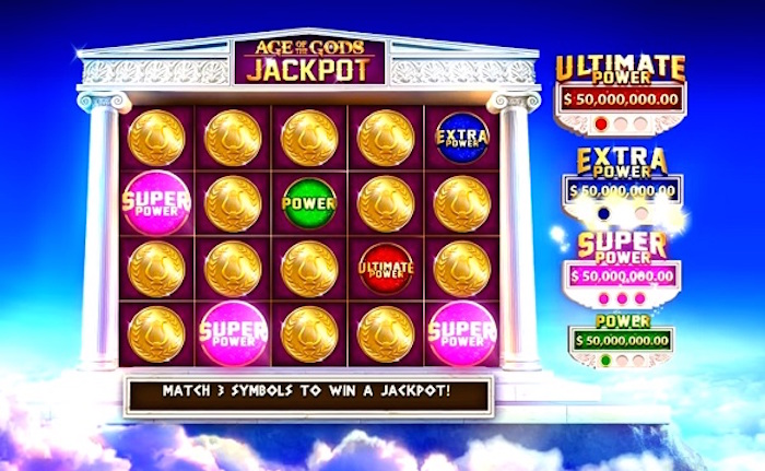 Play to win one of four jackpots on Age of the Gods Slots
