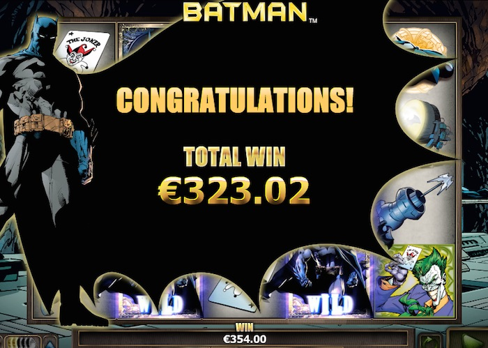Graphics demonstrated during Big Win playing Batman