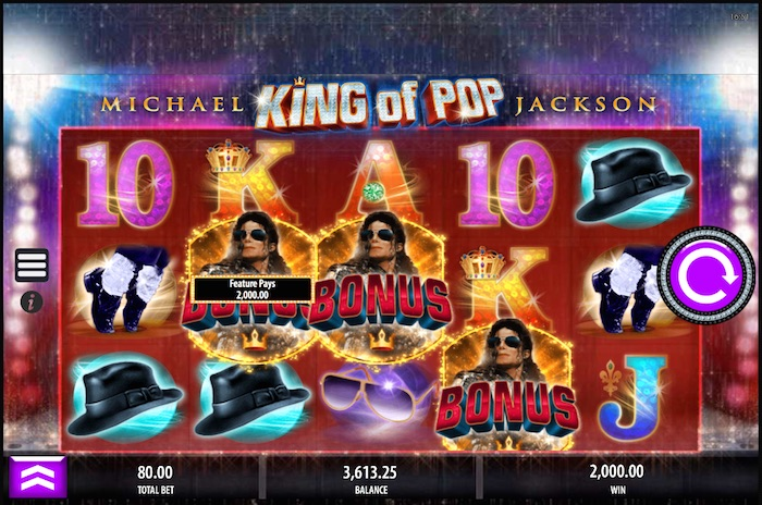 3 x Bonus Symbols Trigger the King of Pop Bonus Game