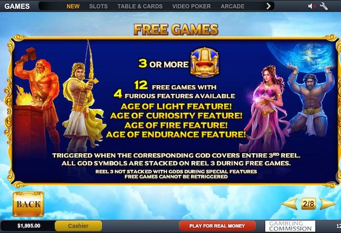 Age of the Gods Furious 4 Features Four Bonus Games