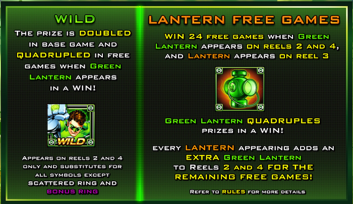Green Lantern Slot Features and In-Play Bonus Games