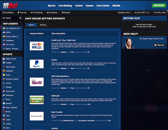 Banking options for real money players at 10bet.co.uk