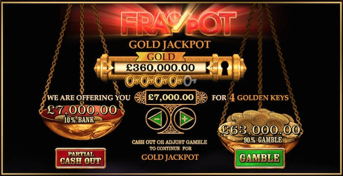 Colossus FracPot includes a Gamble or Cashout Bonus Feature