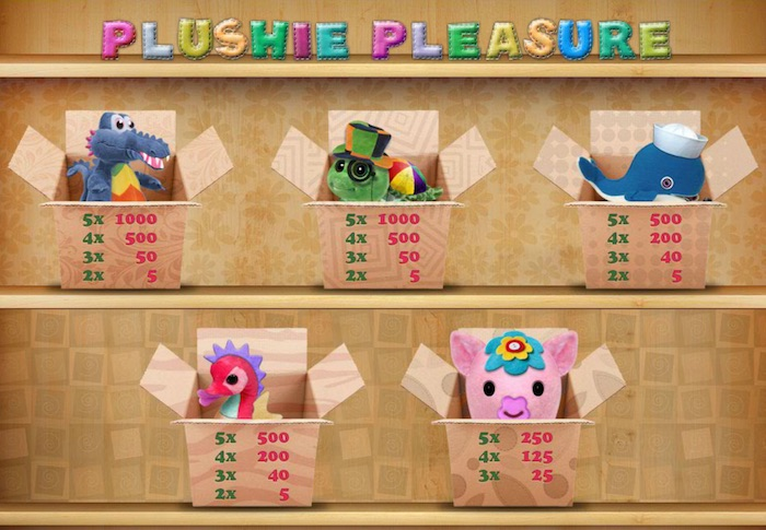 The Cozy Games Designed Pay Table for Plushie Pleasure Game